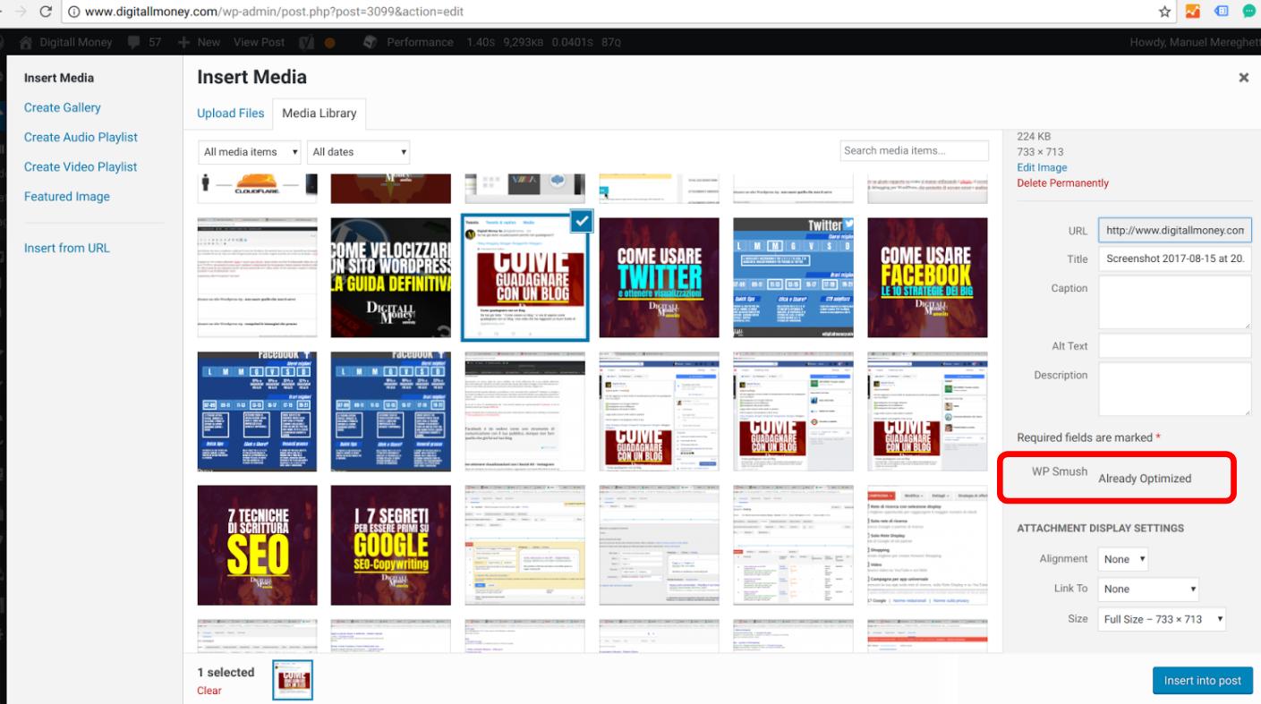 Comprimere immagini WordPress